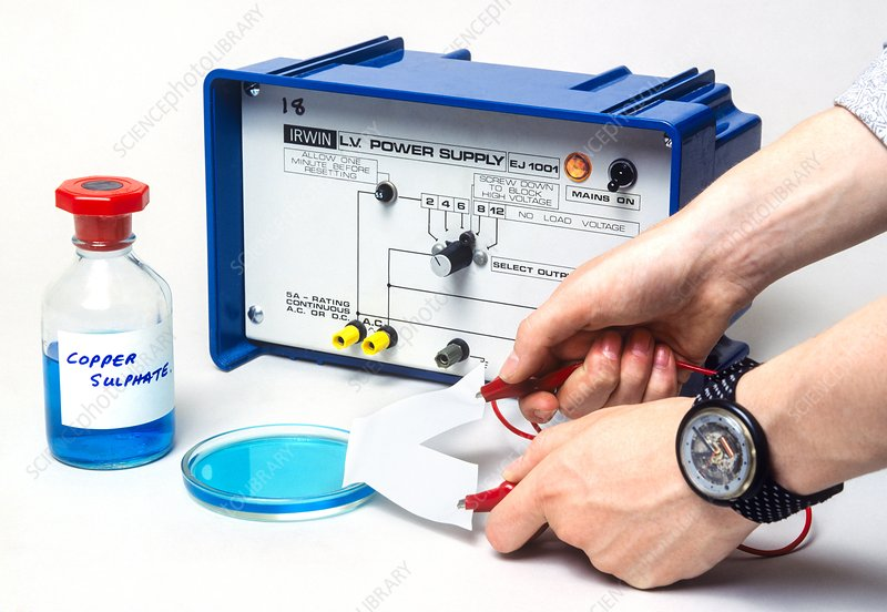 Electrolysis experiment - Stock Image - C015/0434 - Science