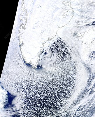 Cloud streets, Greenland, satellite image
