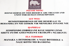 Rhinoceros poaching notice