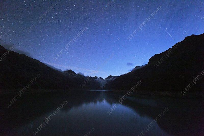 Stars over the Oberaar reservoir