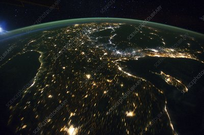 Europe and middle east at night, ISS