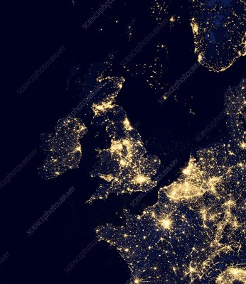 North Sea at night, satellite image