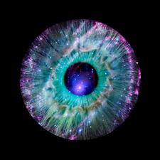 Human eye and galaxy, composite image