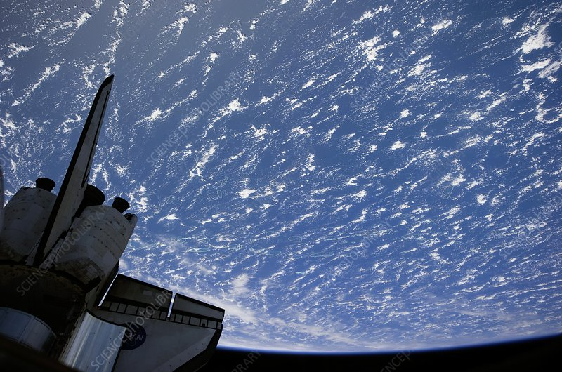 Space Shuttle and Earth, ISS image