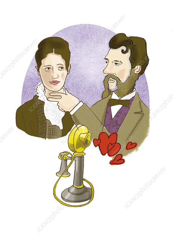 Alexander G. Bell with his future wife
