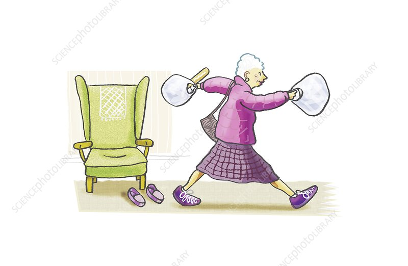 Active elderly woman, artwork