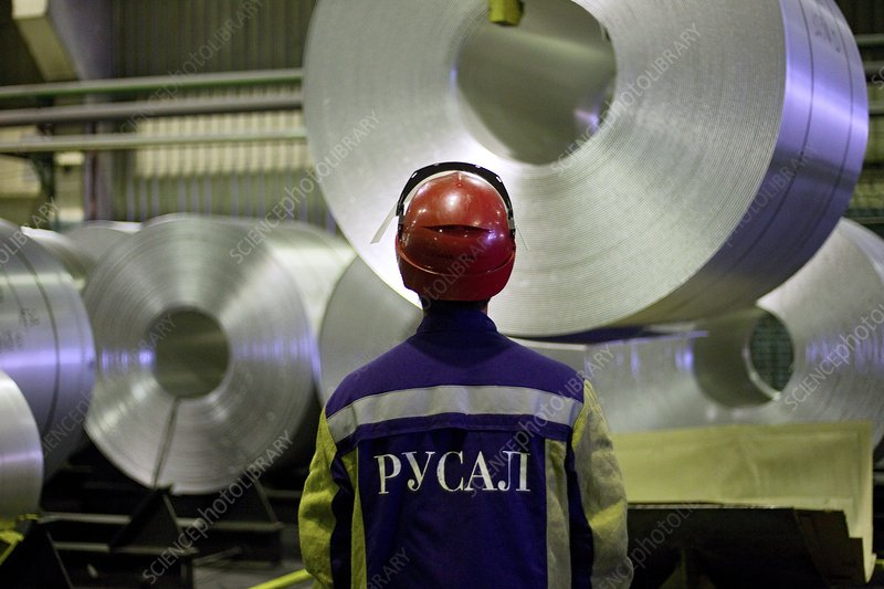 Rolls of aluminium at a smelting plant