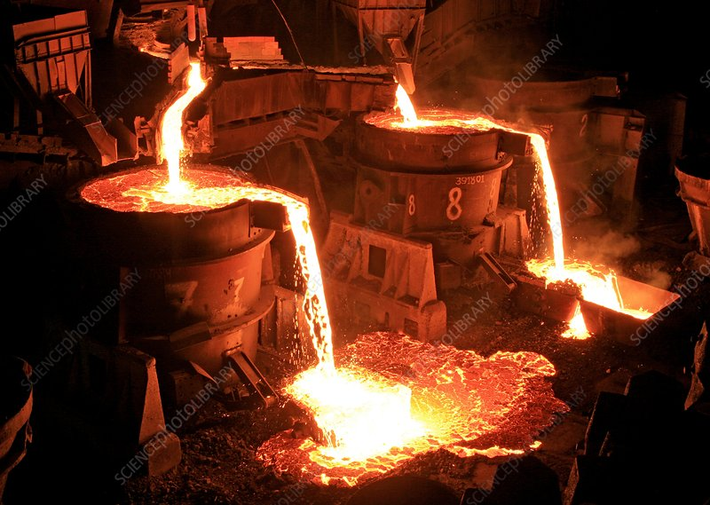 Molten steel at a foundry