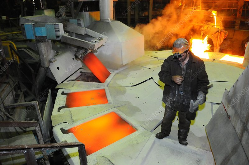Copper plate casting at a foundry