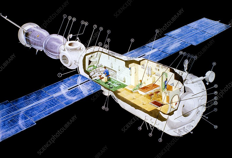 Diagram Of Mir Space Station Stock Image C015 2964 Science