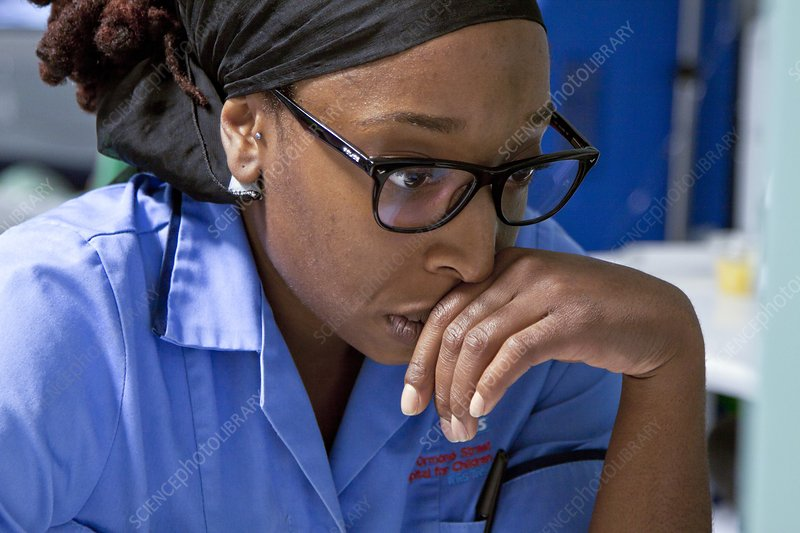Nurse concentrating