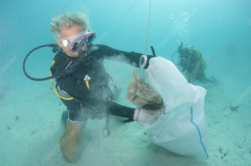 Cleaning up rubbish underwater