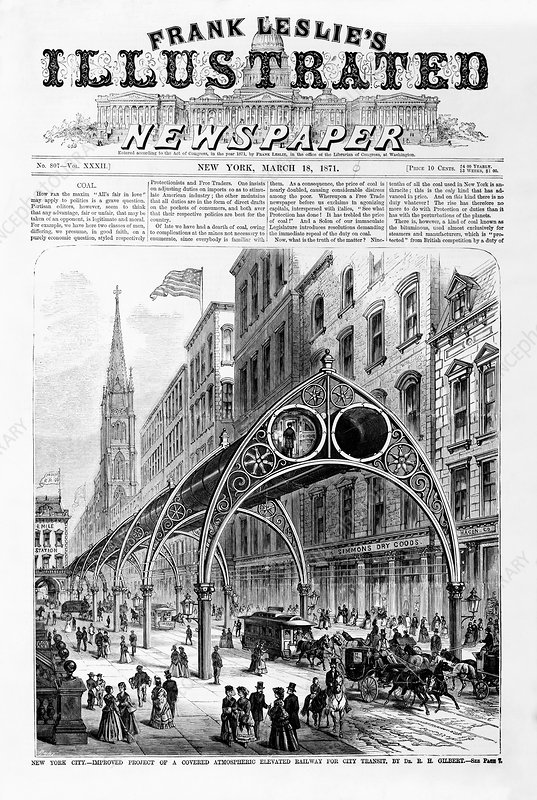 Proposed elevated railway, 1871, artwork