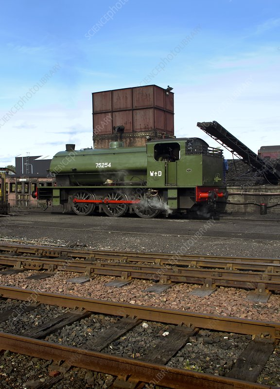 1940s steam locomotive in sidings