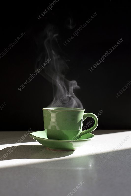 Steam rising from hot drink