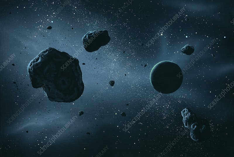 Asteroids and extrasolar planet, artwork