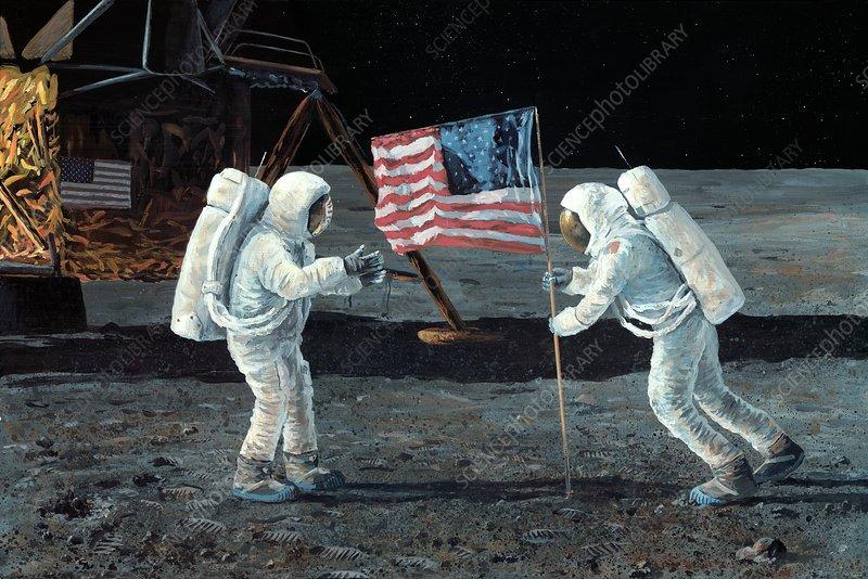 Apollo 11 Moon landing, 1969, artwork - Stock Image - C015/4023 - Science  Photo Library