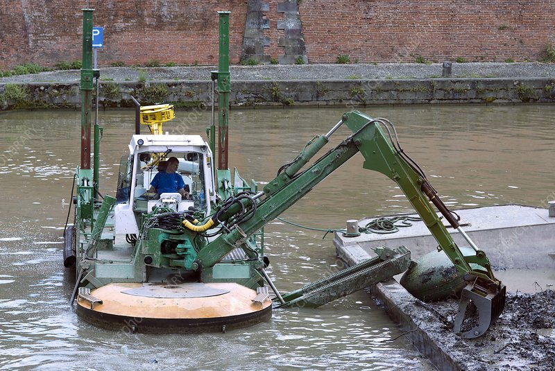 Dredging a canal, France