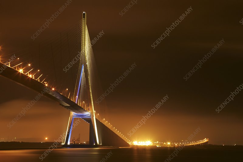 Pont de Normandie, France, at night