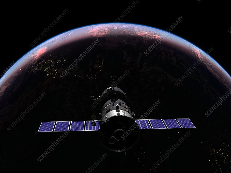 Soyuz spacecraft in Earth orbit, artwork