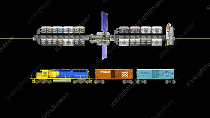 Lunar space elevator and train, artwork