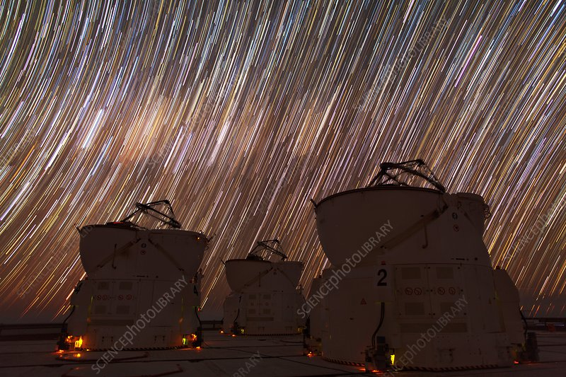Paranal Observatory under star trails