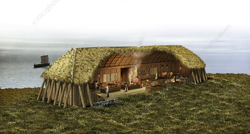 Viking house in ring fortress, artwork
