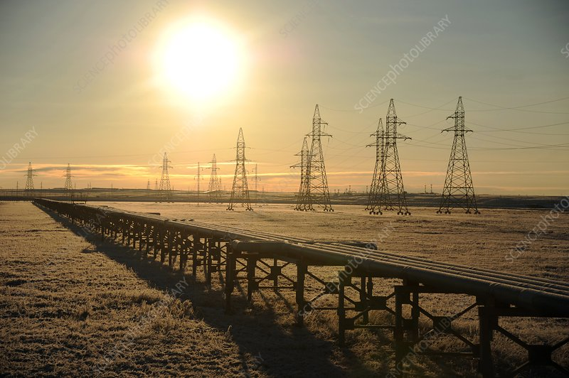 Gas pipeline and electricity pylons
