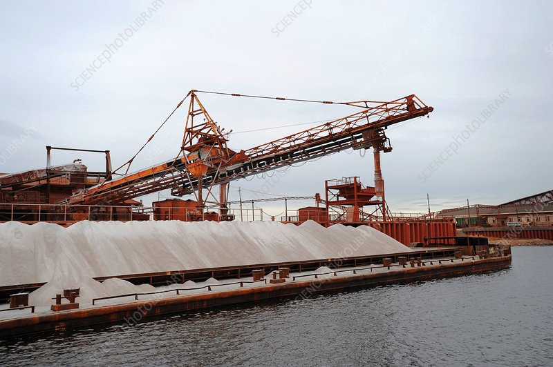 Barge carrying potash