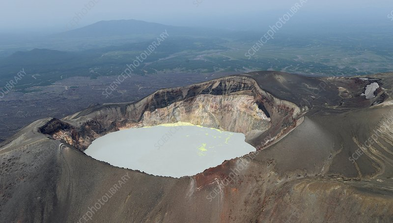 Crater lake of Maly Semyachik volcano