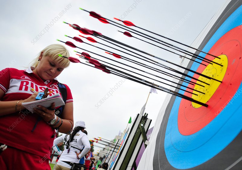 Archer noting scores, 2012 Olympics