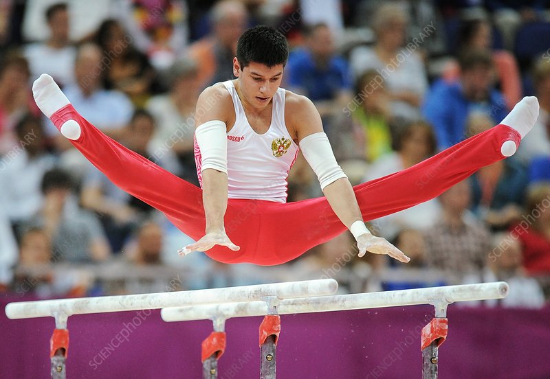 Gymnast on parallel bars, London 2012