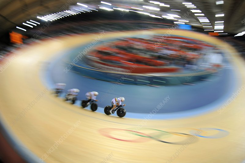 Olympic cyclists at the velodrome, 2012