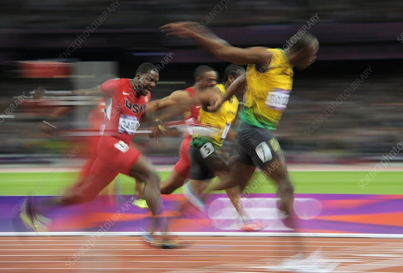 Usain Bolt winning 100m gold, London