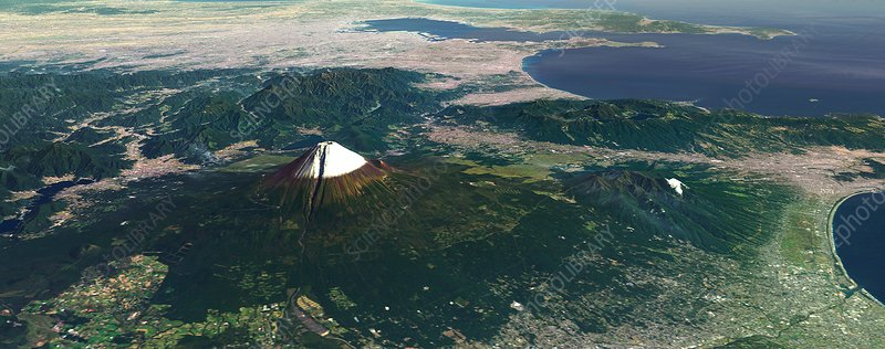 Mount Fuji, Japan, 3D artwork