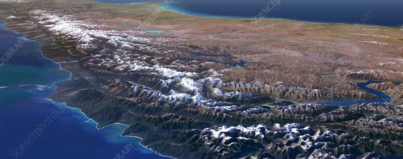 Southern Alps, New Zealand, 3D artwork