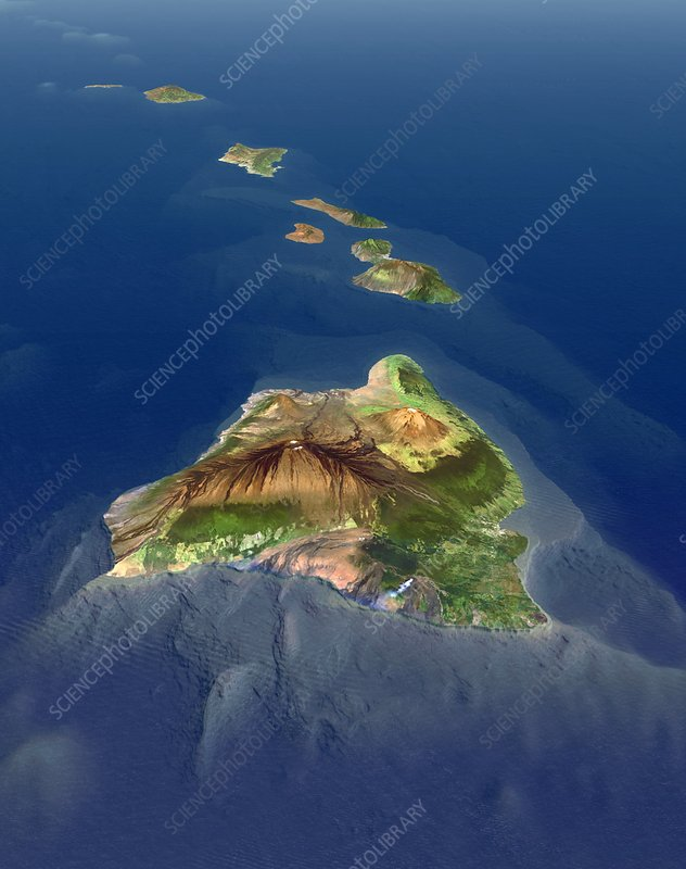 Hawaiian Islands, 3D artwork