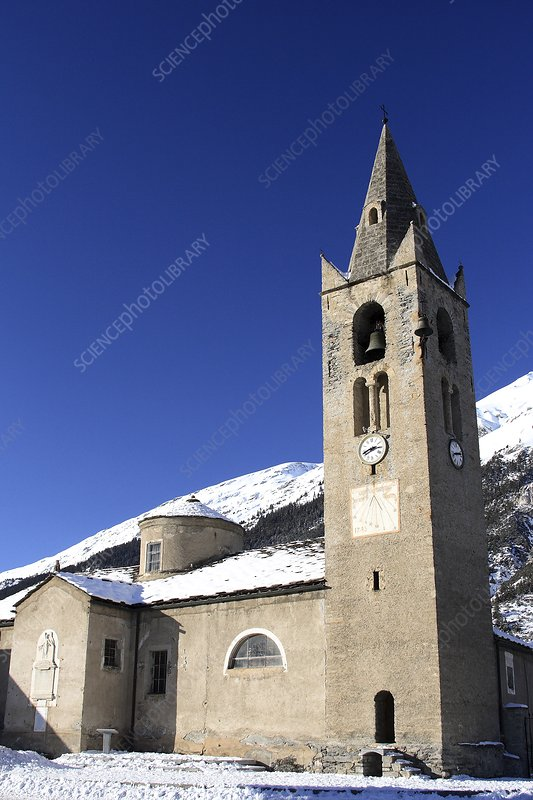 Church in the snow, France