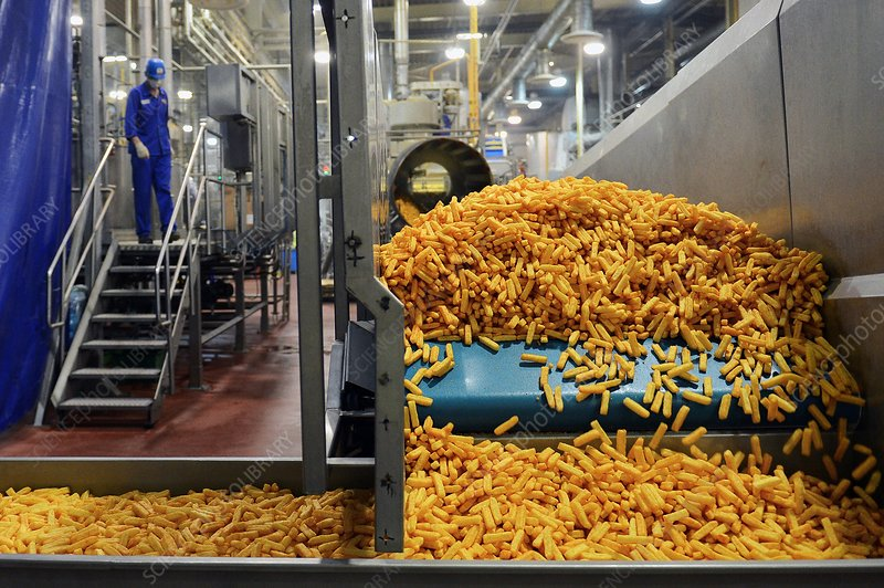 Corn snacks on production line