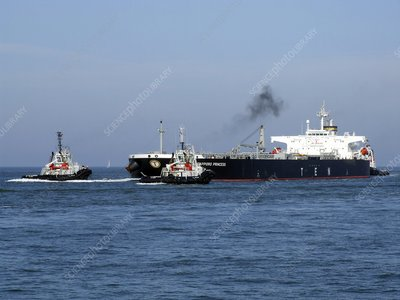 Oil Tanker and tugs
