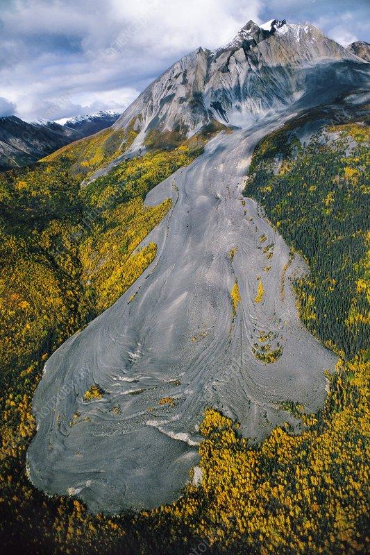 Rock glacier, aerial, Sourdough Peak, USA