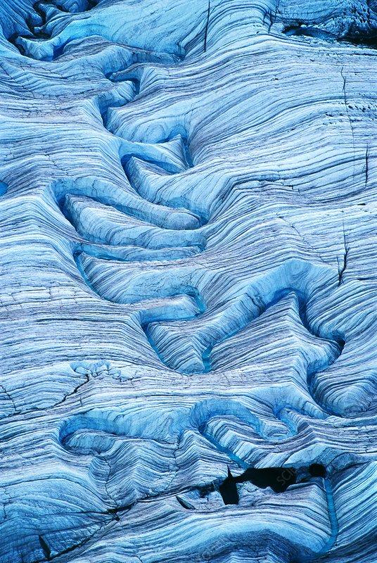 Melting water on glacier, Alaska, USA