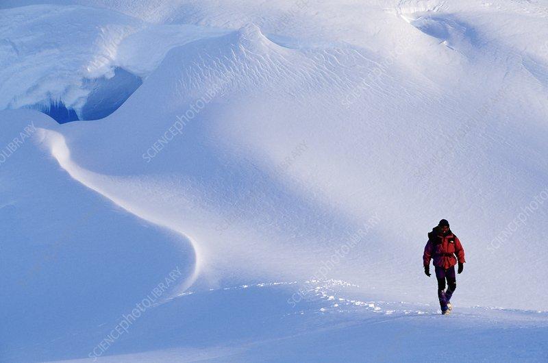 Hiker in Patriot Hills, Antarctica