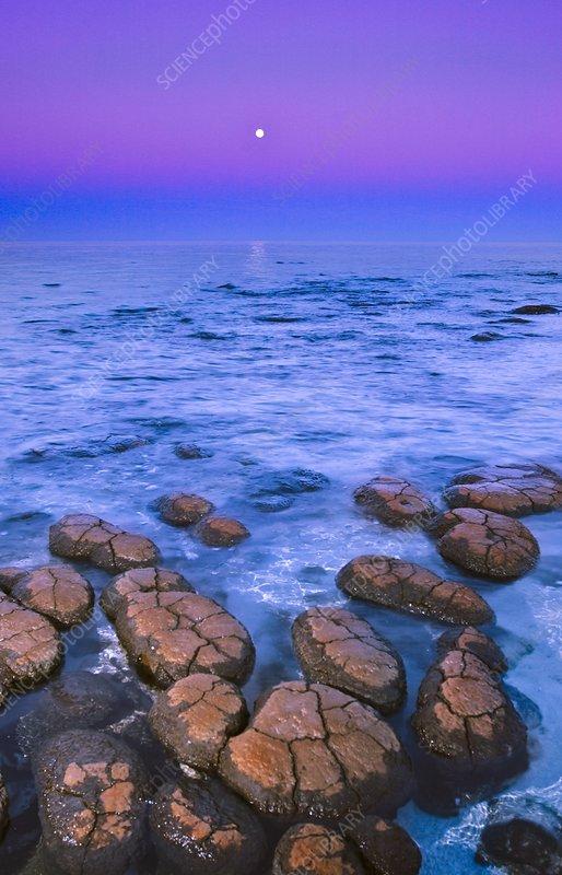 Stromatolites and moon, Western Australia