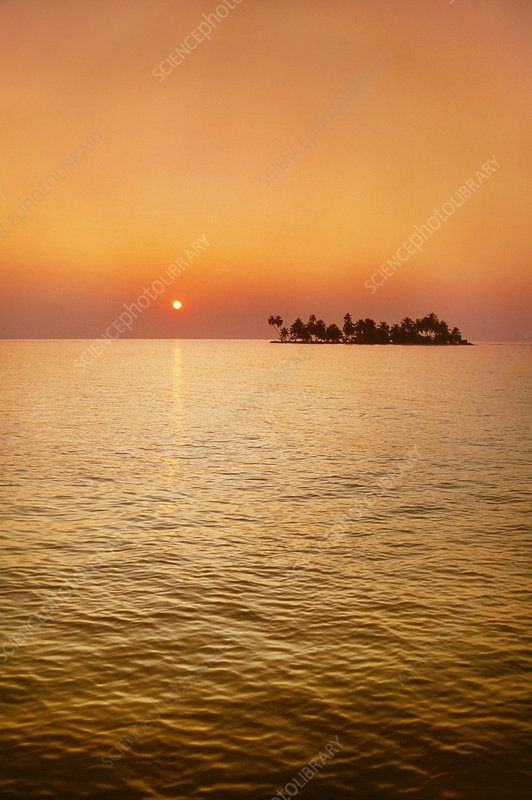 Palm island at sunrise, Belize