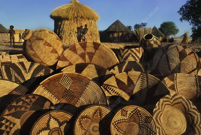 Baskets in Hambukushu village, Botswana