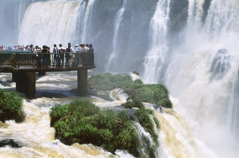 Tourists at waterfalls, Iguacu Brazil