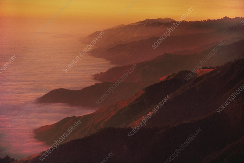 Coastline, aerial view over Big Sur