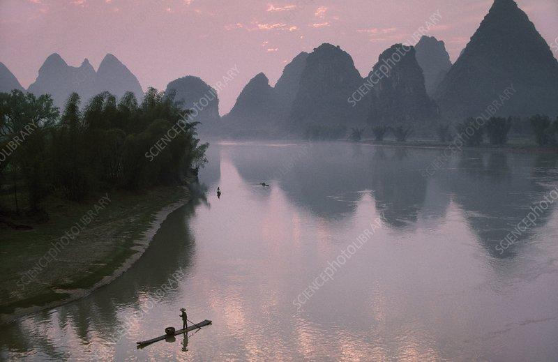 Fisherman on Li river, Guilin, China