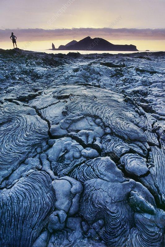 Lava flows and tourist, Sullivan Bay